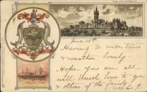 Glasgow University Heraldic Shield & Ship TUCK #893 c1900 Postcard