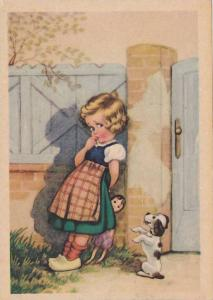Girl shyly holding a doll, puppy on hind legs begging, 20-30s