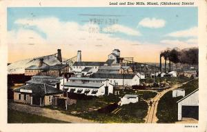 Miami Oklahoma Lead And Zinc Mills Birdseye View Antique Postcard K20598