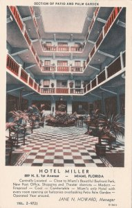 Florida Miami Hotel Miller Section Of Patio & Palm Garden 1937 Curteich sk5945