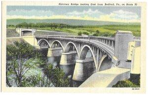 Narrows Bridge looking East from Bedford, Pennsylvania on Route 30 unused linen