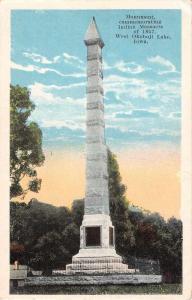 West Okoboji Lake Iowa monument 1857 Indian massacre antique pc Z22958