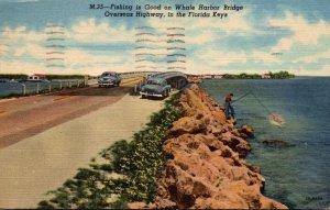 Florida Keys Fishing Along The Overseas Highway On Whale Harbor Bridge 1953 C...