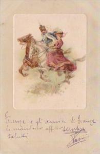 Romantic Couple On Horseback 1902