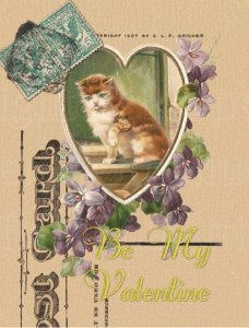 Single (1) Valentine's Day Postcard Kitten in Heart with Lavender Purple Violets