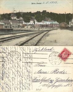 norway norge, BARBU, Arendal, Railway Station, T. Knudsen (1913) Stamp