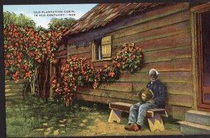 Old Plantation Cabin Black Americana Old Black Man Kentucky ~ LINEN
