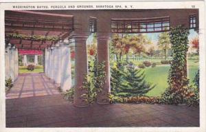 New York Saratoga Springs Washington Baths Pergola and Grounds 1936