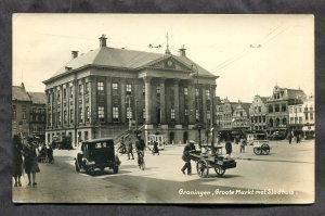 5228 - NETHERLANDS Groningen 1930s Busy Market Square. Real Photo Postcard