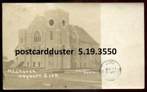 3550 - WEYBURN Saskatchewan 1907 M.E. Church. Real Photo Postcard by McMullen