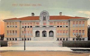 Lima Ohio~High School Building~Clock above Doorway~Vintage Lamppost~1912 Pc
