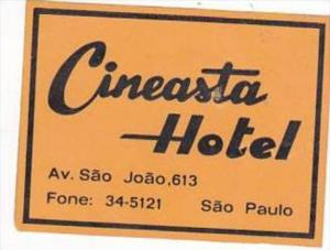 BRASIL SAO PAULO CINEASTA HOTEL VINTAGE LUGGAGE LABEL