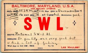 Baltimore, Maryland Postcard QSL Amateur Radio Card LEE MAULSBY 1934 Cancel