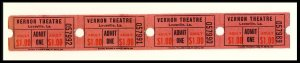 4 Vernon Movie Theatre 1 Dollar Tickets, Leesville, Louisiana/LA, 1960's?