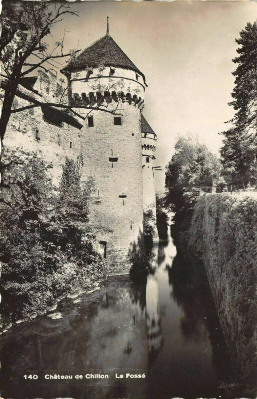 Vintage Real Photo Postcard, Chateau de Chillon, Le Fosse, Switzerland 32R