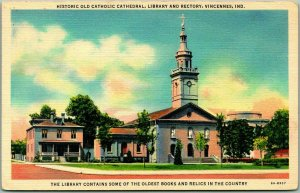 Vincennes, Indiana Postcard Catholic Cathedral, Library & Rectory Linen c1940s