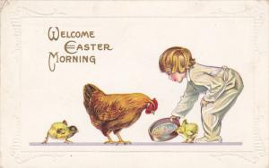 EASTER; Welcome Morning, Boy feeding Hen and chicks, PU-1915