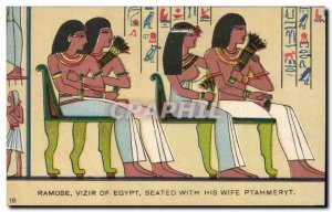 Old Postcard Egypt Egypt Ramose Vizier of Egypt seated With His wife Ptahmeryt