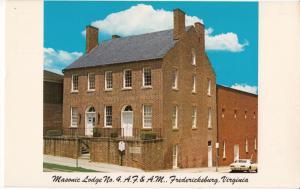 Masonic Lodge No. 4, A. F. & A. M., Fredericksburg, Virginia, unused Postcard