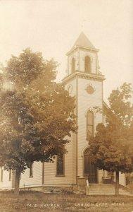 LPM46 Carson City M. E. Church  Michigan RPPC Postcard