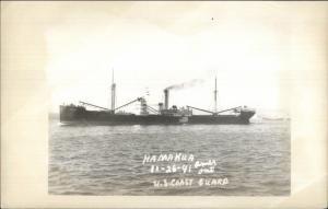 US Coast Guard USCG Ship Hamakua 1941 Real Photo Postcard (1950s-60s Kodak)