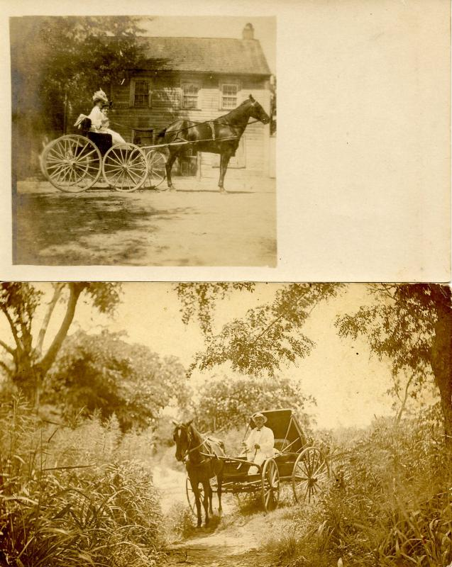 2 RPPC's. Horses and Buggies and People (unidentified)