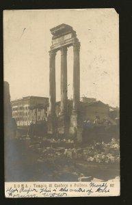 Postmarked 1905 Roma Italy Tempio di Castore e Polluce UPU POstcard