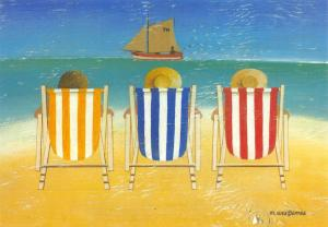 Postcard Art, Three Deckchairs by Martin Wiscombe #M36