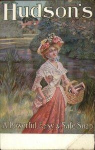 Beautiful woman Nature Dress Basket - HUDSON'S SOAP c1910 Postcard