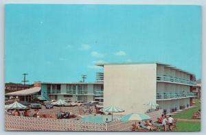 Postcard VA Virginia Beach Bel Harbour Motel Ocean Front Swimming Pool 1960s M14