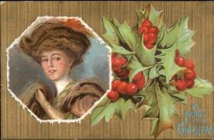 Christmas - F. Early Christy Beautiful Woman & Holly c1910 Postcard rpx