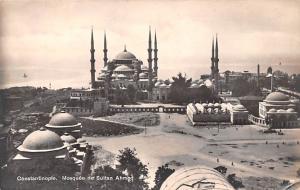 Turkey Old Vintage Antique Post Card Mosquee de Sutan Ahmed Constantinople Un...