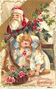 Christmas Red Suited Santa Claus Girl in Mirror Embossed Postcard
