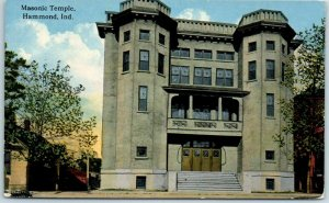 Hammond, Indiana Postcard Masonic Temple Building Street View w/ 1915 Cancel