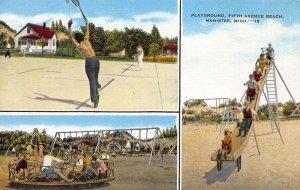 3 Scenes of Playground & Tennis Court, Fifth Ave. Beach, Manistee, MI, Unused