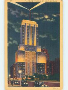 Linen PALMOLIVE BUILDING AT NIGHT Chicago Illinois IL ho1531