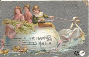 Vintage Postcard Children Riding on Giant Easter Egg Pulled by Swans Baby Chicks
