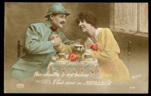 WWI Maurice Boulanger real photo card. Hand tinted. Il faut aimer un Artilleur.