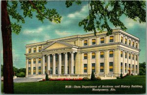 1940s Montgomery, Alabama Postcard State Dept. Archives & History Bldg. Linen