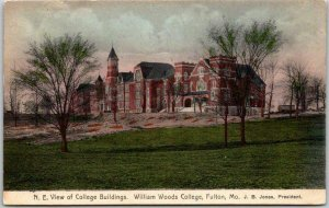 1909 Fulton, Missouri Postcard WILLIAM WOODS COLLEGE Building View Hand-Colored