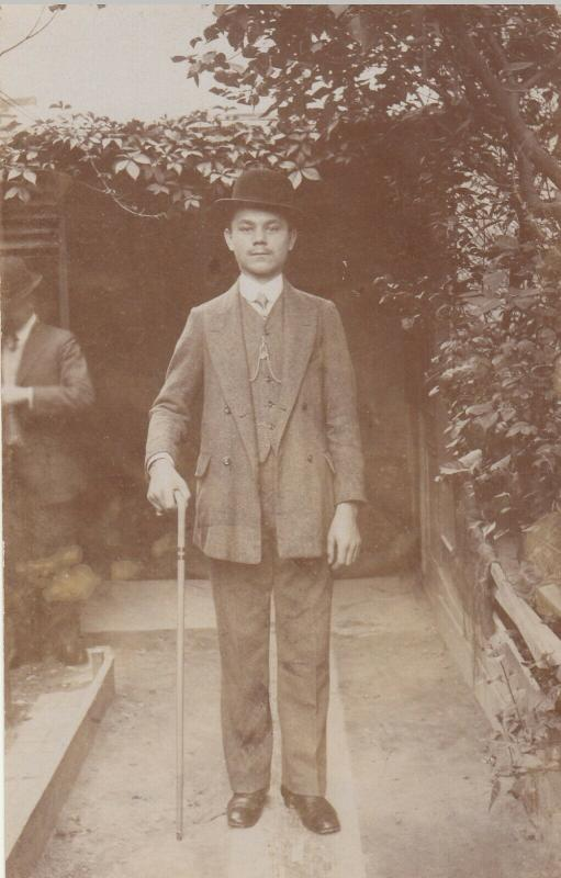 Social history real photo postcard elegant young man with hat & walking stick