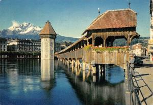 Switzerland Luzern Kapellbrucke und Pilatus Lucerne Chapel Bridge Mount Pilatus