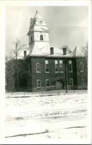 Vtg Postcard RPPC 1940s Westburg Tennessee TN Morgan County Court House Snow