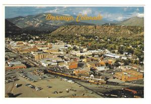 Durango Colorado Aerial View Silverton Train Petley Postcard