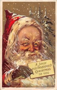 E42/ Santa Claus Merry Christmas Holiday Postcard 1909 Julius Bien Snow Gold 9