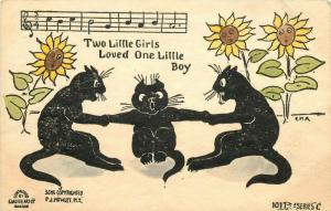 1907 Hand-Colored Glazier Art Postcard Black Cat Song 2 Little Girls Loved 1 Boy