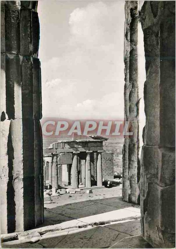 Postcard Modern Athens Propylaea seen through the Parthenons Columns