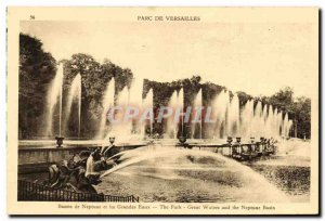Old Postcard Park of Versailles Neptune Fountain and the great waters
