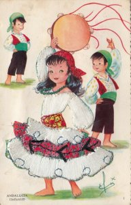 ANDALUCIA, Portugal, 1930-40s; Children dancing, girl in embroidered dress