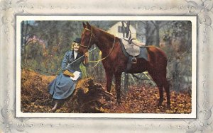 Horse Drawn Woman and Horse Unused